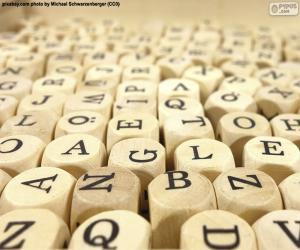 Puzle Dřevěná kostka dopisy