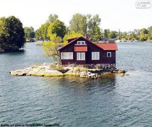 Puzle Dům na malém ostrově