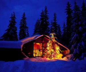 Puzle Dům s velkým vyzdobený vánoční strom v zahradě