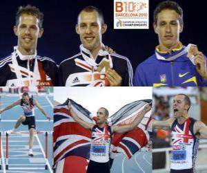 Puzle David Greene 400 metrů překážek šampion, Rhys Williams a Stanislav Melnykov (2. a 3.) z Mistrovství Evropy v atletice Barcelona 2010