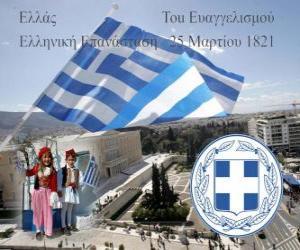 Puzle Den nezávislosti Řecka, 25. března 1821. Válka za nezávislost, nebo řecké revoluce