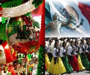 Puzle Den nezávislosti Mexika. Připomíná 16.září 1810, začátek boje proti španělské vládě