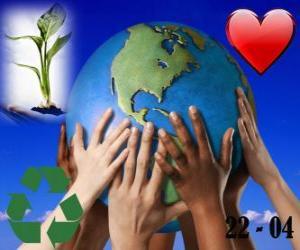 Puzle Den Země 22. dubna. Šťastný svět, svět recyklace a lásky k životnímu prostředí