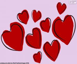 Puzle Devět červené srdce