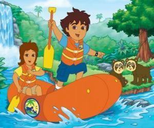Puzle Diego a jeho matka v nafukovací člun