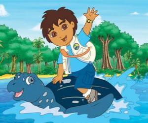 Puzle Diego na moři na krunýři mořská želva