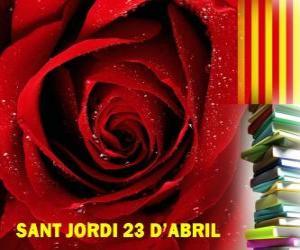 Puzle Dne 23. dubna, St George má den se slaví v Katalánsku, na festivalu knihy a růže