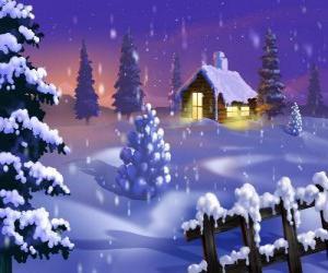 Puzle Domek ve sněhu