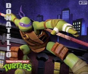 Puzle Donatello, zbraně této želvy ninja je japonský hůl dlouhá Bo
