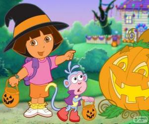 Puzle Dora a Boty opice slaví Halloween