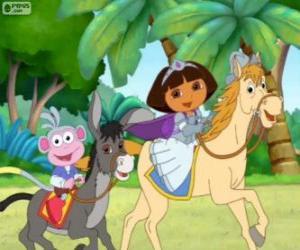 Puzle Dora a její opice jezdecké boty