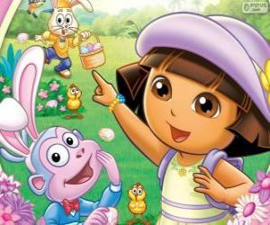 Puzle Dora Průzkumník na Velikonoce