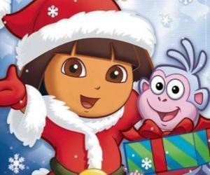 Puzle Dora Průzkumník vám přeje krásné svátky vánoční