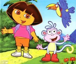 Puzle Dora The Explorer a její přítel opice Boty