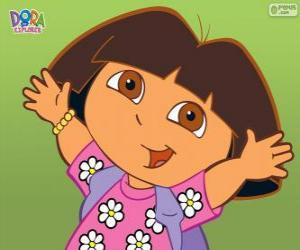 Puzle Dora The Explorer, s košilí s květinami