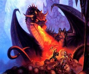 Puzle Dragon házení oheň skrze ústa