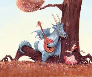 Puzle Dragon zpívá píseň s princeznou