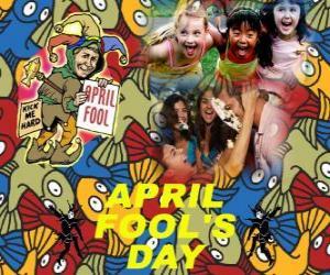 Puzle Dubna bláznů den slaven 1. dubna věnovaná vtipy v mnoha zemích