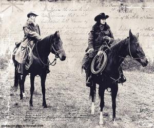 Puzle Dvě ženy kovboj