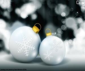 Puzle Dvě bílé kuličky vánoční