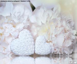 Puzle Dvě bílé srdce