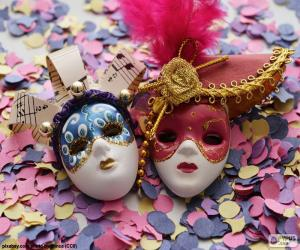 Puzle Dvě masky a konfety