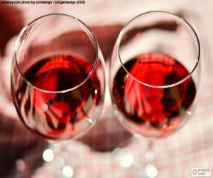 Puzle Dvě sklenky vína