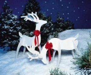 Puzle Dva dřevěné sob s červenou mašlí na vánoční výzdobu