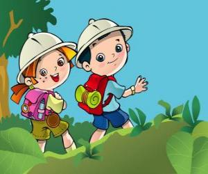 Puzle Dva mladí cestovatelé z expedice