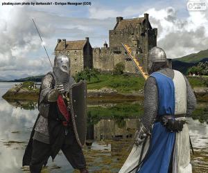 Puzle Dva rytíři bojují v bitvě
