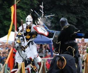 Puzle Dva rytíři na koních, které se účastní turnaje