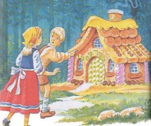 Puzle Dva sourozence Jeníček a Mařenka objevit dům z lahodné čokoládové