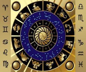 Puzle Dvanáct znamení zvěrokruhu, Zodiac kola nebo kruhu zvěrokruhu