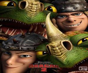 Puzle Dvojčata bratři Tuffnut a Ruffnut Thorston s jejich draky