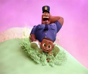 Puzle Earl Devereaux, policista a jeho syn Cal na kopečkem zmrzliny