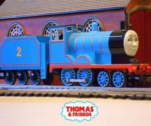 Puzle Edward, lokomotiva v modré barvě má číslo 2