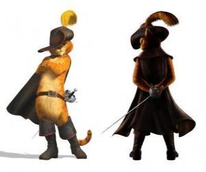 Puzle Elegantní Kocour s mečem za pasem, klobouk, kabát a boty