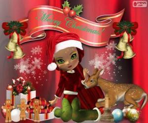 Puzle Elf blahopřání vánoční