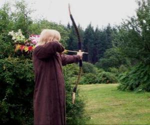 Puzle Elf lovec vyzbrojeni lukem a šípem připravený ke střelbě
