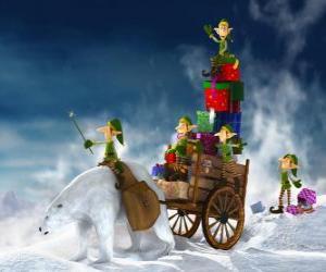 Puzle Elfové pomáhá Santa Claus doručit vánoční dárky