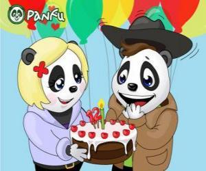 Puzle Ella přináší dort na oslavu jeho narozenin Max