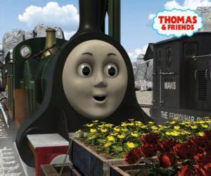 Puzle Emily, smaragdově zelená lokomotiva je nejnovějším členem týmu parních lokomotiv