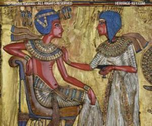 Puzle Farao seděl na trůně s žezlem nejej, ve formě bič, v ruce