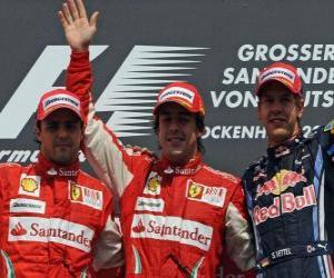 Puzle Fernando Alonso, Felipe Massa, Sebastian Vettel, Hockenheim, německé Grand Prix (2010) (1., 2. a 3. Utajované)