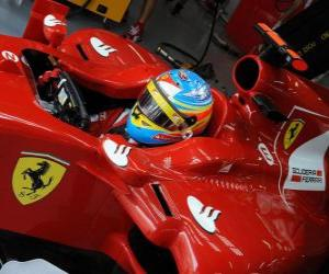 Puzle Fernando Alonso, příprava na závod Ferrari