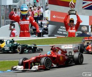 Puzle Fernando Alonso slaví své vítězství v Grand Prix Německa 2012