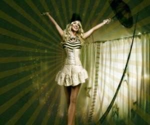 Puzle Fil de fériste nebo funambule se dívka oblečená jako baletka, a s kuželem klobouk chůzi na laně