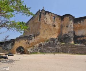 Puzle Fort Jesus, portugalské pevnosti se nachází v Mombase (Keňa)