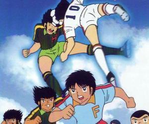Puzle Fotbalistů ve fotbalovém utkání od kapitána Tsubasa