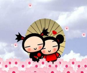 Puzle Garu a Pucca pod deštníkem